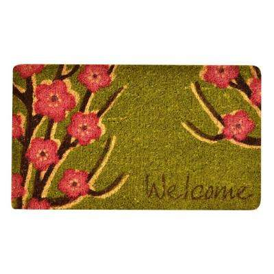 Outdoor Welcome Floral 1 ft. 6 in. x 2 ft. 6 in. Coir Door Mat