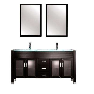 Amriel 63 in. Double Vanity in Espresso with Tempered Glass Vanity Top in Aqua and Mirror