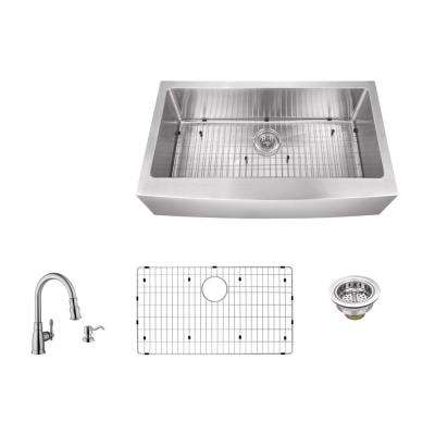 Apron Front 35-7/8 in. 16 Gauge Stainless Steel Kitchen Sink in Brushed Stainless with Arc Kitchen Faucet