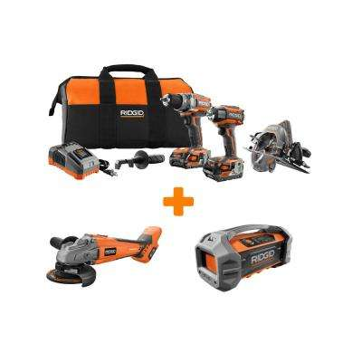 GEN5X 18-Volt Lithium-Ion Brushless Cordless Combo Kit (3-Tool) with Bonus Brushless Grinder and Bluetooth Radio