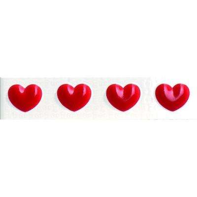 Easy Classic Heart Red 1.8 in. x 8 in. Ceramic Wall Tile