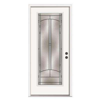 Idlewild Full Lite Primed White Steel Prehung Front Door with Brickmould and Patina Caming