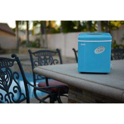 Portable 28 lb. of Ice a Day Countertop Ice Maker BPA Free Parts with 3 Ice Sizes and Ice Scoop - Cyan Blue