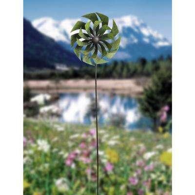 72 in. Green Metal Windmill Garden Stake