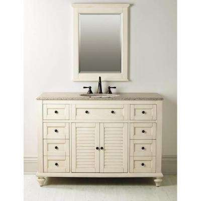 Hamilton Shutter 49-1/2 in. W x 22 in. D Bath  Vanity in Ivory with Granite Vanity Top in Grey