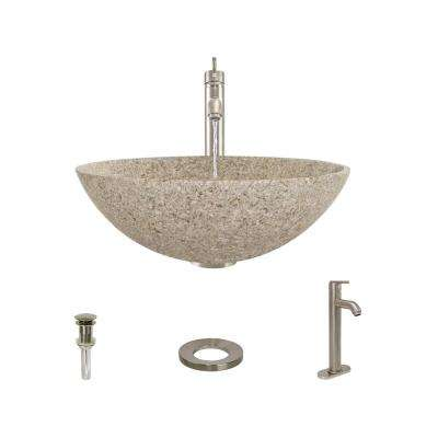 Stone Vessel Sink in Honed Basalt Tan Granite with 718 Faucet and Pop-Up Drain in Brushed Nickel
