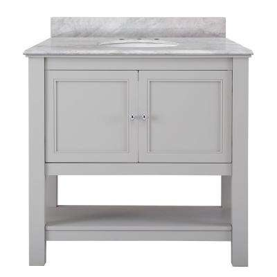 Gazette 37 in. W x 22 in. D Vanity in Grey with Marble Vanity Top in Carrara White with White Basin