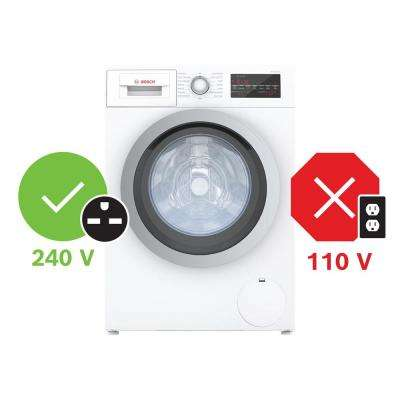 500 Series24 in. 2.2 cu. ft. 240-Volt White with Silver Accents High-Efficiency Front Load Compact Washer, ENERGY STAR