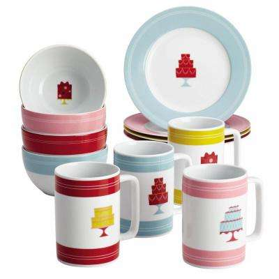 Serveware 12-Piece Set in Porcelain Dessert Plates in Bowls and Mugs in Mini Cakes Pattern with Print