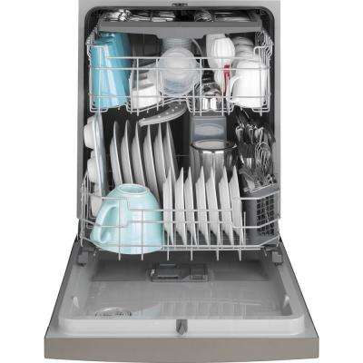 24 in. Front Control Tall Tub Dishwasher in Slate with Steam Prewash, Fingerprint Resistant, 50 dBA