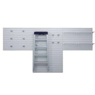 72 in. H x 144 in. W White Garage Wall Panel Set with Storage Hooks