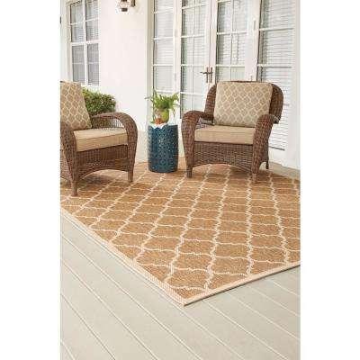 Trellis Tan Natural Sisal Flat Woven Weave 5 ft. x 7 ft. Indoor/Outdoor Area Rug