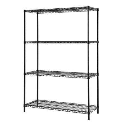 48 in. W x 72 in. H x 18 in. D All Purpose Heavy Duty 4-Tier Wire Shelving, Black