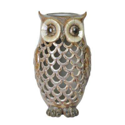 Solar Powered Outdoor LED Ceramic Owl