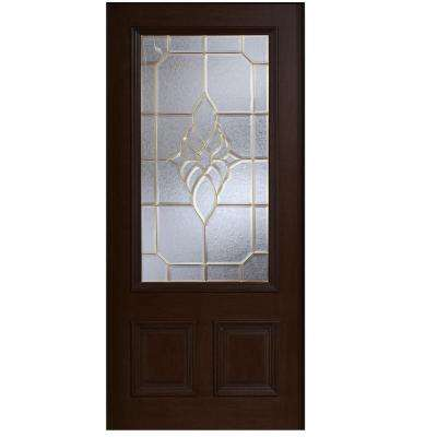 36 in. x 80 in. Mahogany Type 3/4 Glass Prefinished Espresso Beveled Brass Solid Wood Front Door Slab