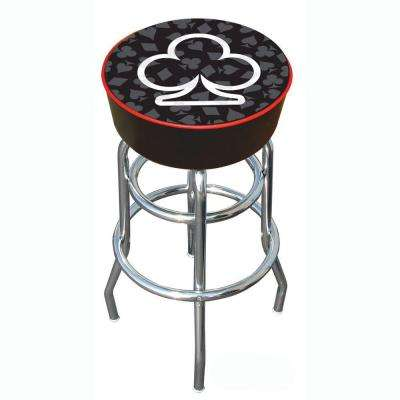 Four Aces Club 31 in. Chrome Swivel Cushioned Bar Stool
