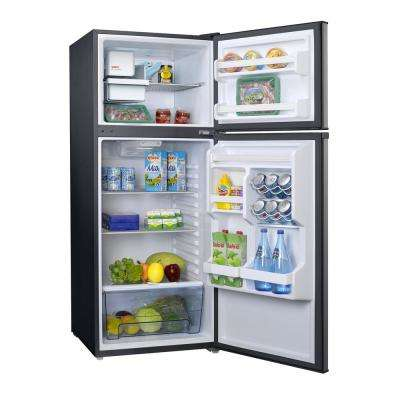 24 in. W 10 cu. ft. Frost Free Top Freezer Refrigerator in Stainless Steel with Ice Maker
