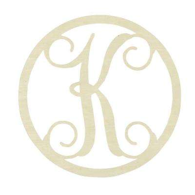 19 in. Unfinished Single Circle Monogram (K)