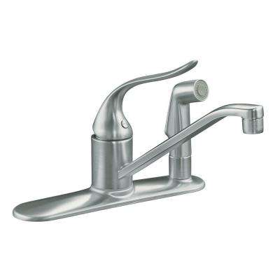 Coralais Low-Arc Single-Handle Standard Kitchen Faucet with Side Sprayer in Brushed Chrome