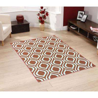 Rose Collection Contemporary Moroccan Trellis Design Orange 3 ft. x 5 ft. Non-Skid Area Rug