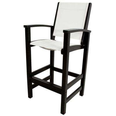 Coastal Black Patio Bar Chair with White Sling