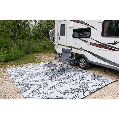 Arctic Black/White 9 ft. x 12 ft. Designer Outdoor RV/Camping/Patio Reversible Area Rug