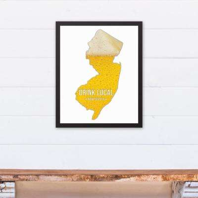 "16 in. x 20 in. ""New Jersey Drink Local Beer  "" Printed Framed Canvas Wall Art"