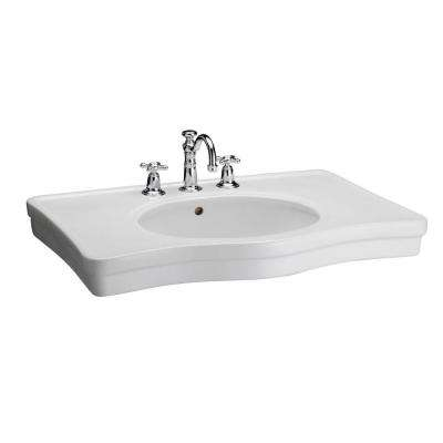 English Turn 35 in. Console Sink Basin Only in White