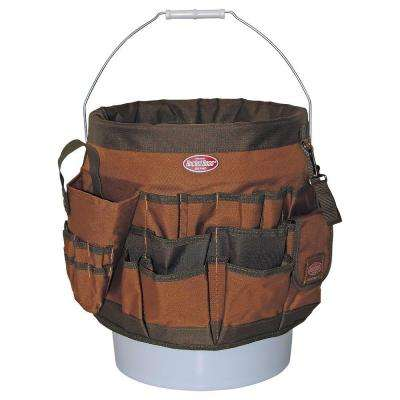 12 in. 56-Pocket Bucket Tool Organizer, Brown and Green