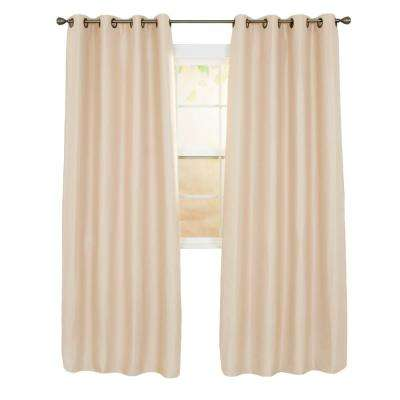 Linen Look Champagne Polyester Blackout Curtain