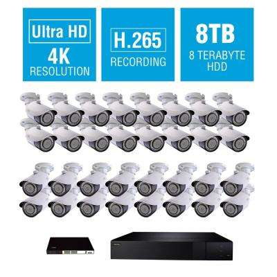 32-Channel 4K 8TB NVR Surveillance System with 4K 32-Bullet Cameras and 16-Way POE Switch