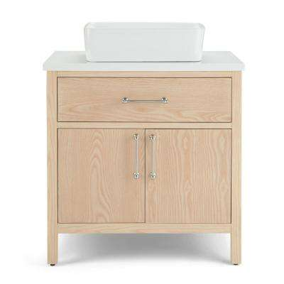 Patton 30 in. Bath Vanity in Natural with Engineered Marble Extra Thick Vanity Top in White with White Basin
