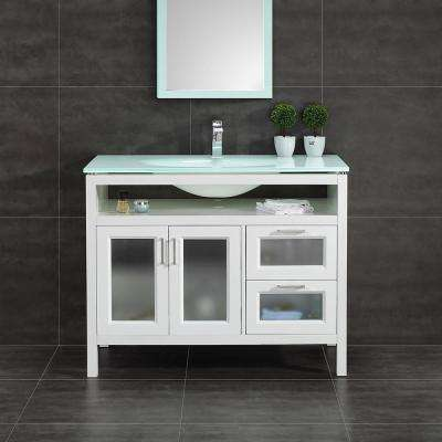 Monica 43 in. W Vanity in White with Tempered Glass Vanity Top in Clear with Tempered Glass Sink