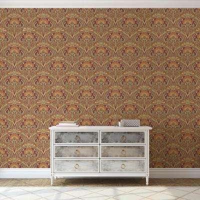 56.4 sq. ft. Donovan Burnt Sienna Nouveau Floral Wallpaper