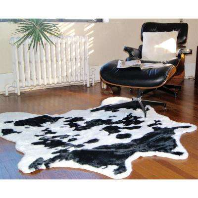 Faux Sugarland Black/White 4. 25 ft. x 5 ft. Cowhide Rug