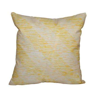 16 in. x 16 in. Yellow Marled Knit Stripe Geometric Print Pillow