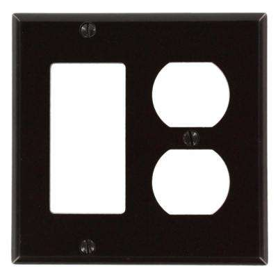 2-Gang Standard Size 1-Duplex Receptacle 1 Decora Plastic Combination Wallplate, Brown