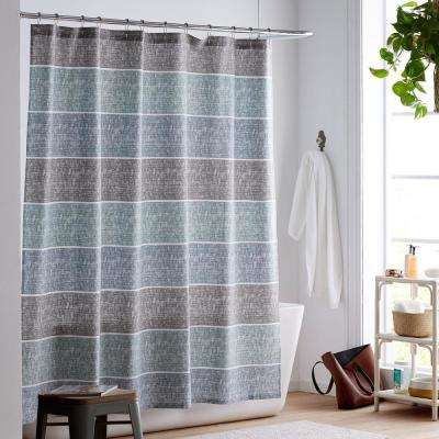 Tri Band Organic Cotton Percale Shower Curtain