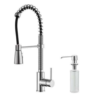 Commercial-Style Single-Handle Pull-Down Kitchen Faucet with Three-Function Sprayer and Soap Dispenser in Chrome