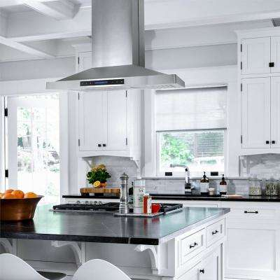 36 in. 760 CFM  Ducted Island Range Hood with LED Lighting in Stainless Steel