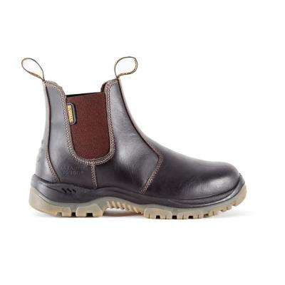 Nitrogen Men's Dark Brown Leather Steel Toe Chelsea Boot
