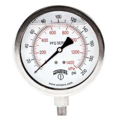 PFQ Series 4 in. Stainless Steel Liquid Filled Case Pressure Gauge with 1/4 in. NPT LM and Range of 0-200 psi/kPa