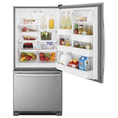 30 in. W 18.7 cu. ft. Bottom Freezer Refrigerator in Monochromatic Stainless Steel
