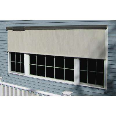 Cream Vinyl Exterior Solar Shade Solar-Powered with Full Bronze Cassette - 120 in. W x 84 in. L