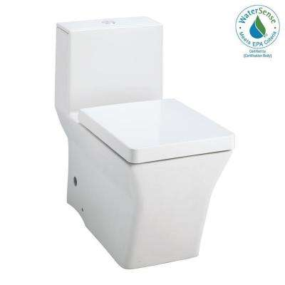 Reve 1-Piece 1.6 GPF High Efficiency Dual Flush Elongated Toilet in Honed White
