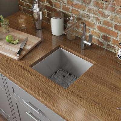Undermount Stainless Steel 15 in. x 15 in. 16-Gauge Single Bowl Kitchen Sink Bar Prep
