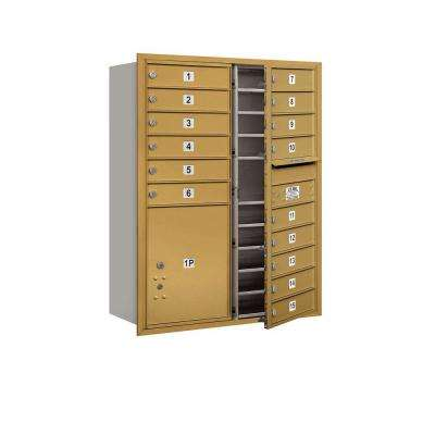 41 in. H x 31-1/8 in. W Gold Front Loading 4C Horizontal Mailbox with 15 MB1 Doors/1 PL5