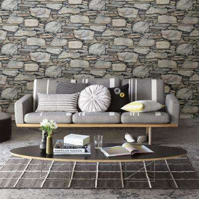 Grey Stone Wall Historic Wallpaper