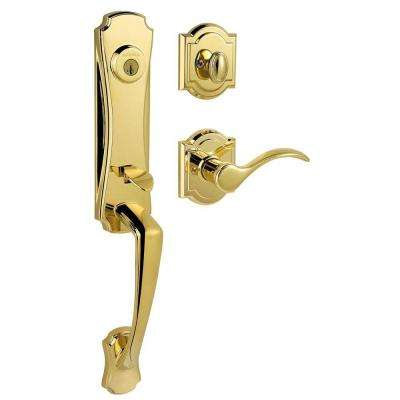 Prestige Segovia Single Cylinder Polished Brass Handleset with Tobin Lever featuring SmartKey