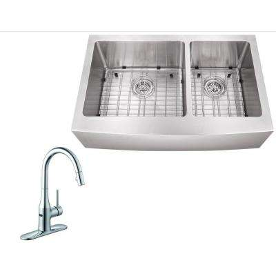 All-in-One Farmhouse Apron Front Stainless Steel 36 in. Double Bowl Kitchen Sink with Faucet